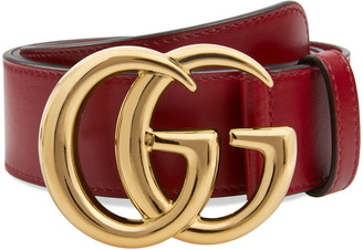 Gucci GG Logo Buckle Leather Belt