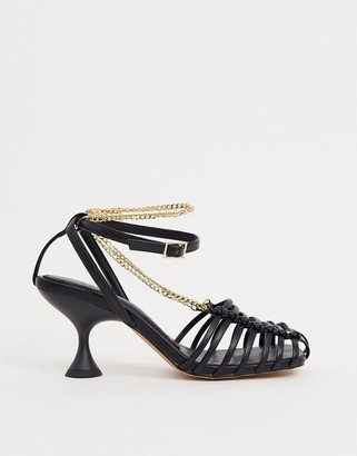 ASOS DESIGN Smith caged mid heels with chain in black