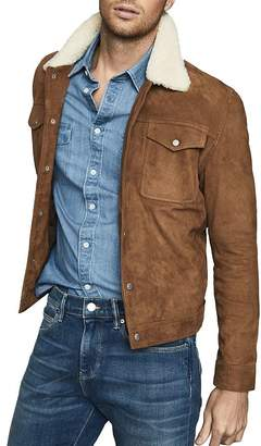 Reiss Miles Shearling Collar Leather Jacket