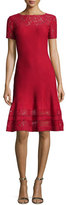 St. John Rubin Lace-Trim Fit-&-Flare Dress, Ruby