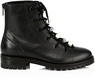 Jimmy Choo Bren Embellished Leather Combat Boots