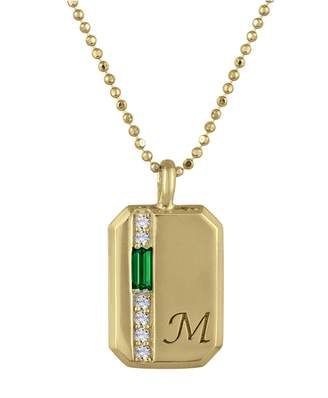 story. My Charlie Emerald Personalized Initial Necklace - Yellow Gold