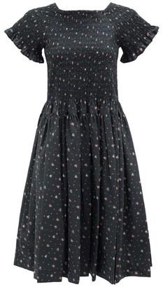 Molly Goddard Tilly Hand-smocked Floral-print Cotton Dress - Black Print