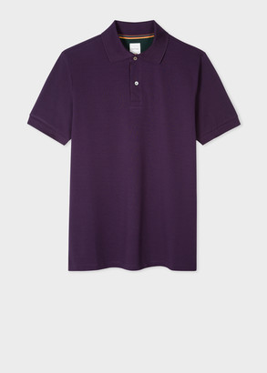 Paul Smith Men's Slim-Fit Purple Cotton-Pique Polo Shirt With 'Artist Stripe' Placket
