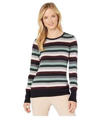 Vince Camuto Long Sleeve Multi Stripe Pullover Sweater