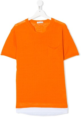 Paolo Pecora Kids TEEN cut-out detail front pocket T-shirt