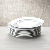 Crate & Barrel White Porcelain Dinner Plates Set of 8