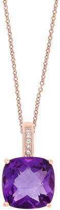 Effy Colour 14K Rose Gold, 0.02 CT. T.W. Diamond Amethyst Pendant Necklace