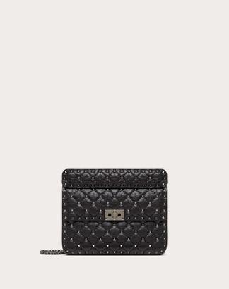 Valentino Medium Crinkled Lambskin Rockstud Spike Bag Women Black Lambskin 100% OneSize