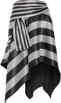 Proenza Schouler Asymmetric Striped Jacquard Skirt - Black