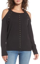 Juicy Couture Women's Dome Stud Cold Shoulder Sweater