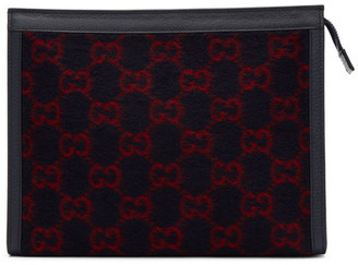Gucci Navy Wool GG Pouch