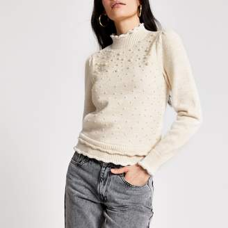 River Island Womens Cream pearl embellished puff sleeve jumper