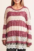 Umgee USA Striped Lace Sweater