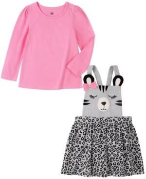 Kids Headquarters 2 Piece Little Girls Long Sleeve T-shirt with Bear Face Animal Print Jumper Set