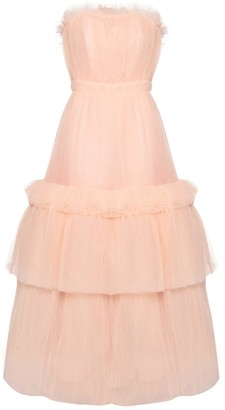 True Decadence Peach Strapless Tulle Gown With Cinched Waist