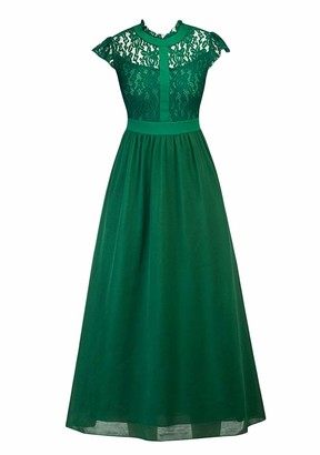TYQQU Women's Dress Maxi Long Solid Color Slim Fit Lace Dress Retro Wrap Dress Sleeveless Elegant Chiffon Round Neck A-Line Green XXL