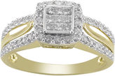 JCPenney FINE JEWELRY 1/2 CT. T.W. Princess Diamond 10K Gold Engagement Ring