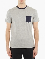 Sunspel Grey Contrast-Trim T-Shirt
