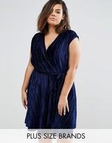 Club L Wrap Dress In Pleated Velvet