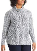 Chaps Plus Size Marled Funnel Neck Sweater