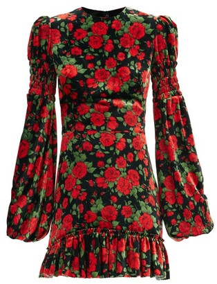 The Vampire's Wife The Runaway Rose-print Velvet Mini Dress - Black Red