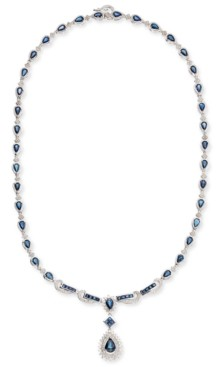 Macy's Sapphire (13-1/2 ct. t.w.) and Diamond (1-1/5 ct. t.w.) Collar Necklace in 14k White Gold (Also Available in Emerald and Certified Ruby)