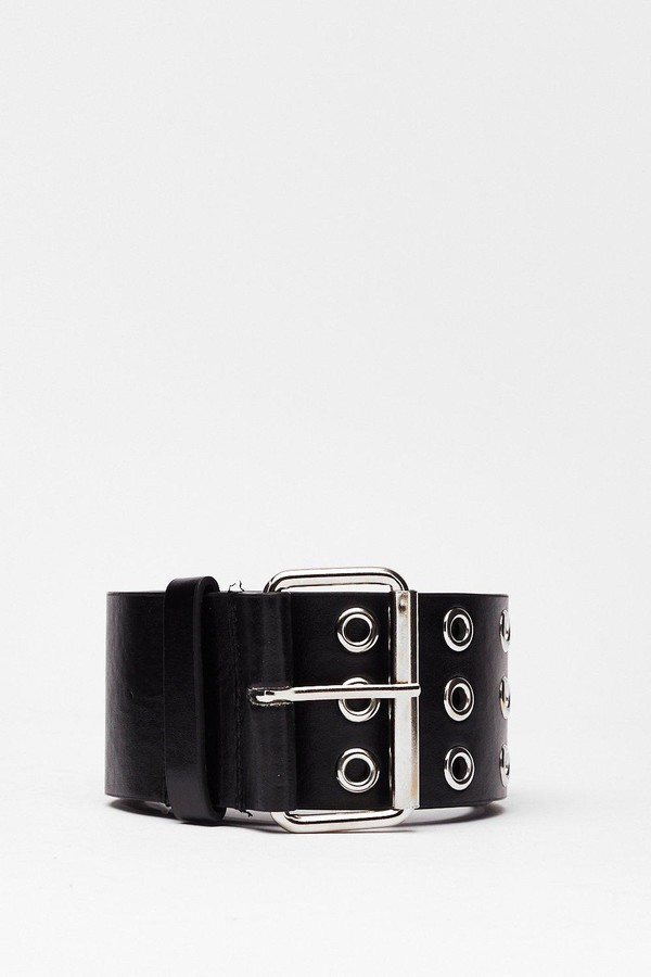 Nasty Gal Womens Chunky Faux Leather Eyelet Belt - Black - One Size