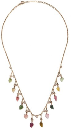 Jacquie Aiche 14kt rose gold Leaf Shaker rainbow tourmaline and diamond necklace