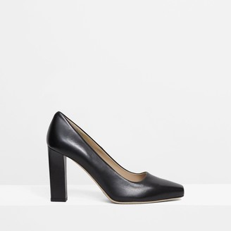 Theory Slim Square Pump in Leather