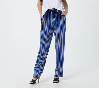 Susan Graver Petite Printed Liquid Knit Belted Pull-On Pants