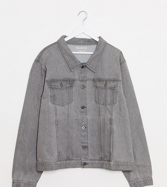 Another Influence Plus slim fit grey wash denim jacket