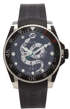 Gucci Dive Kingsnake Stainless-steel Watch - Mens - Black Silver