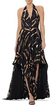 Halston Metallic Combo Halter Gown