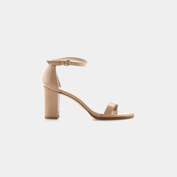 Stuart Weitzman Nearlynude Aniline Leather Block-Heel Sandal