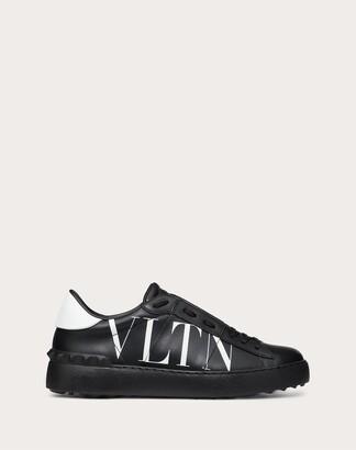 Valentino Vltn Open Sneaker In Calfskin Leather Women Black/white Calfskin 100% 40.5