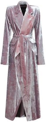 Ann Demeulemeester Wrap Velvet Long Dust Coat W/ Belt