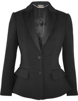 Alexander McQueen Wool And Silk-blend Peplum Tuxedo Blazer - Black