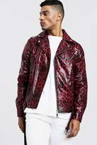 BoohoomanBoohooMAN Mens Red Faux Leather Biker Jacket In Leopard Print, Red