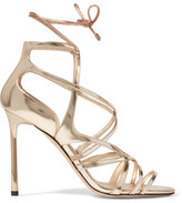 Jimmy Choo Tess Metallic Leather Sandals - Gold