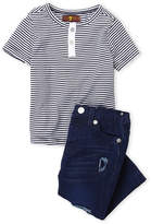 7 For All Mankind Infant Boys) Two-Piece Stripe Henley & Distressed Jeans Set
