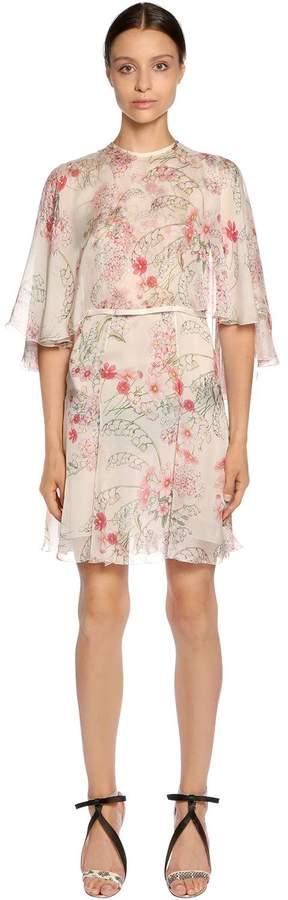 Giambattista Valli Floral Printed Silk Georgette Cape Dress