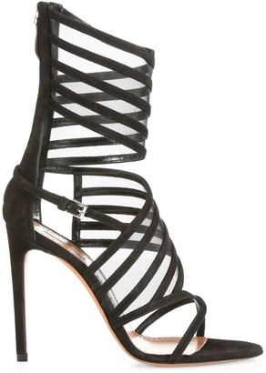 Alaia Ankle-Cuff Leather Cage Sandals