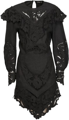 Isabel Marant Ellery Embroidered Linen Mini Dress