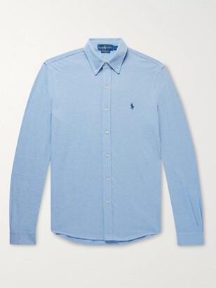 Polo Ralph Lauren Button-Down Collar Melange Cotton-Pique Shirt