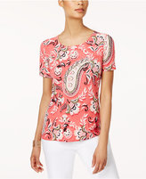 JM Collection Petite Tapestry-Print T-Shirt, Only at Macy's