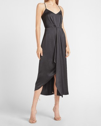 Express Satin V-Neck Asymmetrical Midi Dress