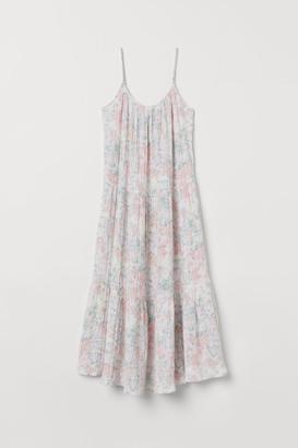 H&M Crinkled Cotton Dress - Beige