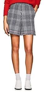 Thom Browne Women's Cotton-Blend Tweed Shorts - Navy, wht
