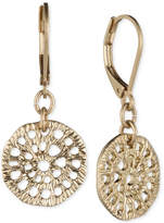 lonna & lilly Gold-Tone Textured Disc Drop Earrings